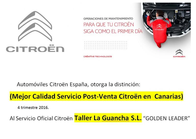 Mejor CALIDAD Servicio Oficial Citroen POST VENTA en canarias 4 trimestre 2016 !!!