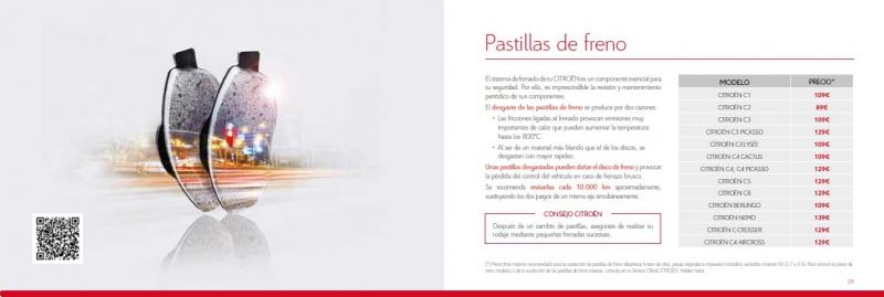 Precios cerrados de Sustitucion de Pastillas delanteras Citroën.